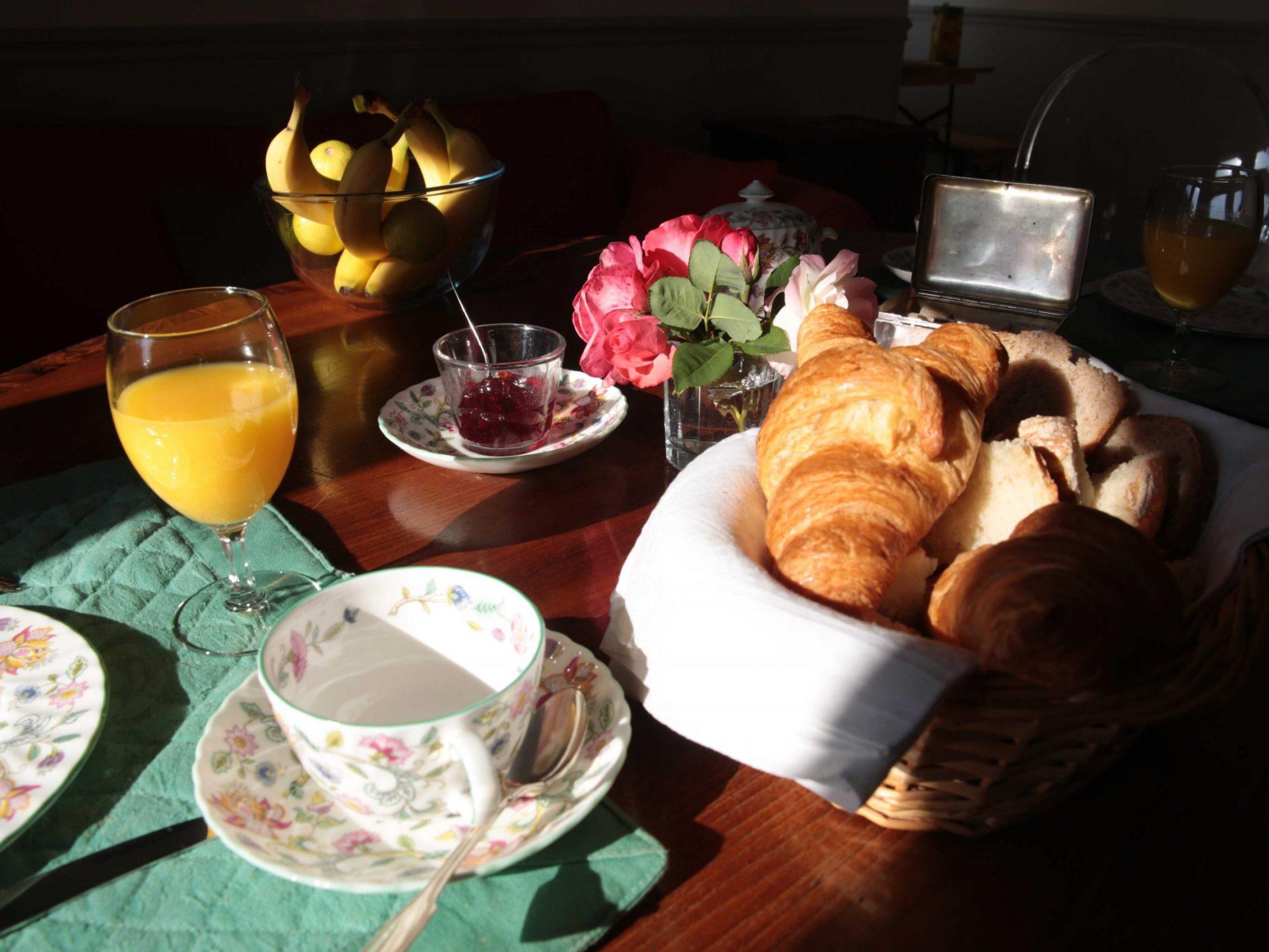 Petit-déjeuner de la Chambre d'hôtes au château de Salvert