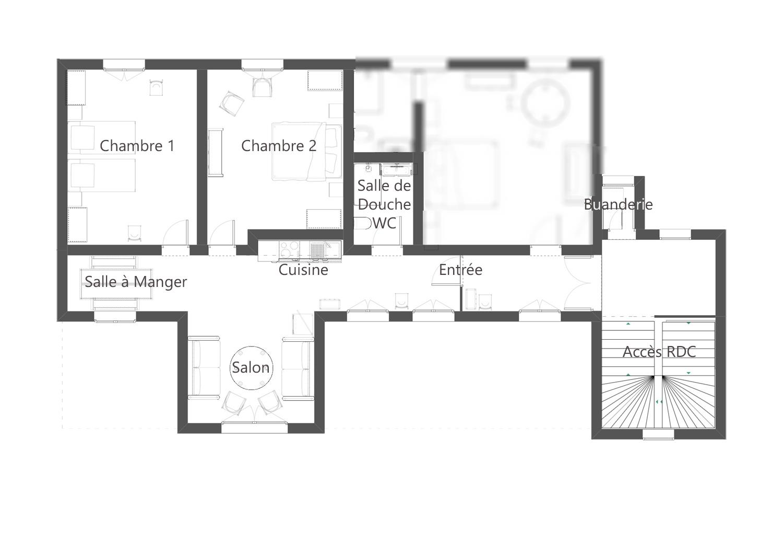 Plan de l'appartement au chateau au 1er étage du Chateau de Salvert