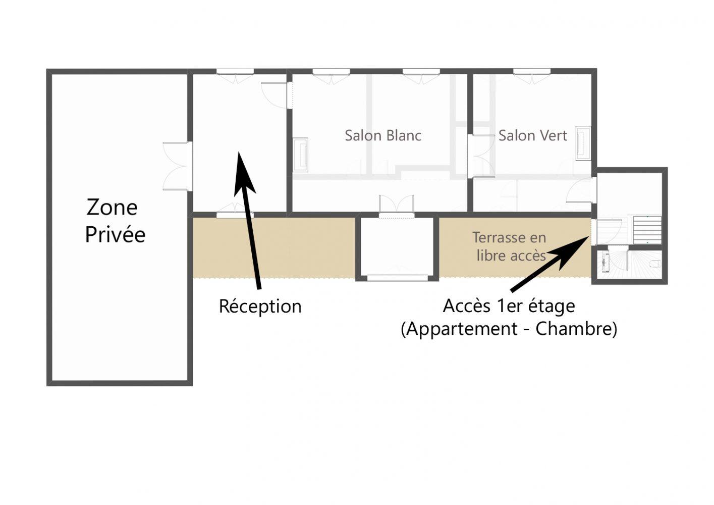 Plan du rez de chaussée du château de Salvert Chambre d'hôtes