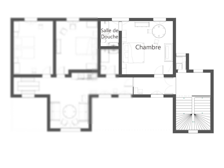 Plan de la chambre d'hôtes au château 2 personne
