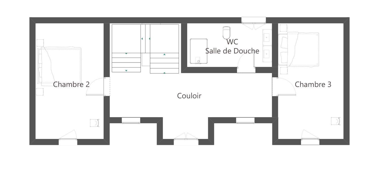 Plan 1er étage gite