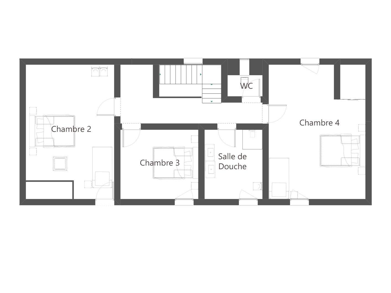 Plan 1er étage gite cottage le pressoir