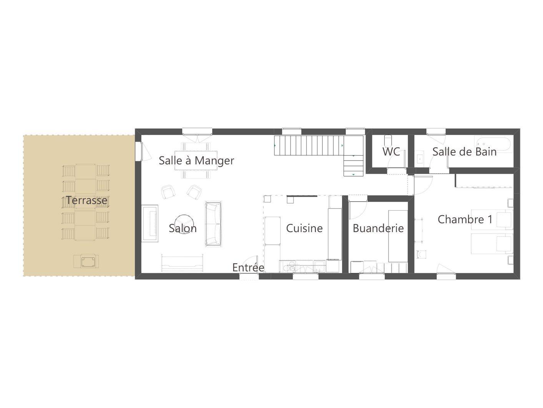 Plan RDC cottage gite le pressoir saumur